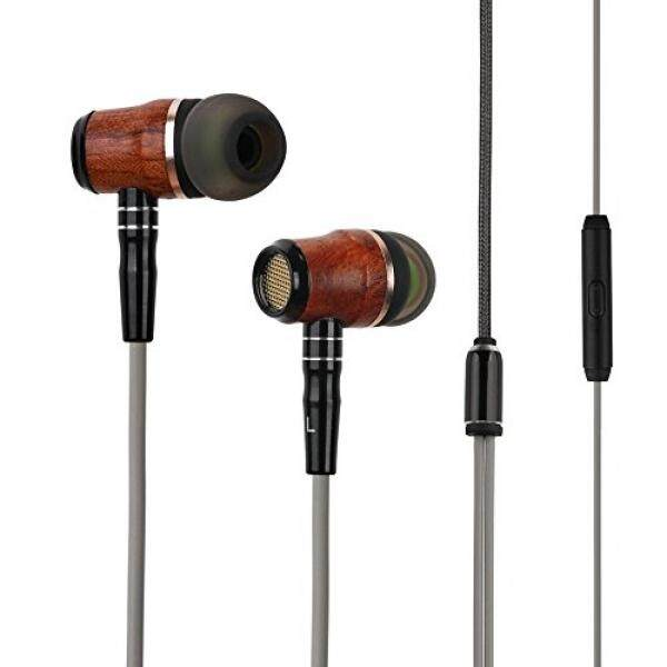 Wood Headphones Earbuds, Zermine Premium Genuine Wood In-ear Noise Cancelling Heavy Bass Earphones with Mic for iPhone iPad Samsung Android Cell Phones Tablets Laptop - intl