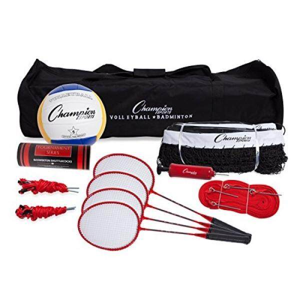 ALMM Champion Sports Volleyball & Badminton Set: Net, Poles, Ball, Rackets & Shuttlecocks - Portable Equipment for Outdoor, Lawn, Beach & Tournament Games - intl