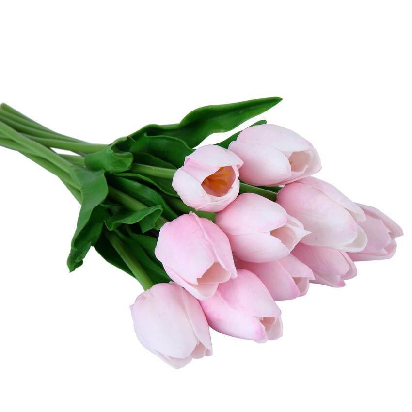 Bunga Peony Simulasi 10 Bundel # Merah Muda-Internasional