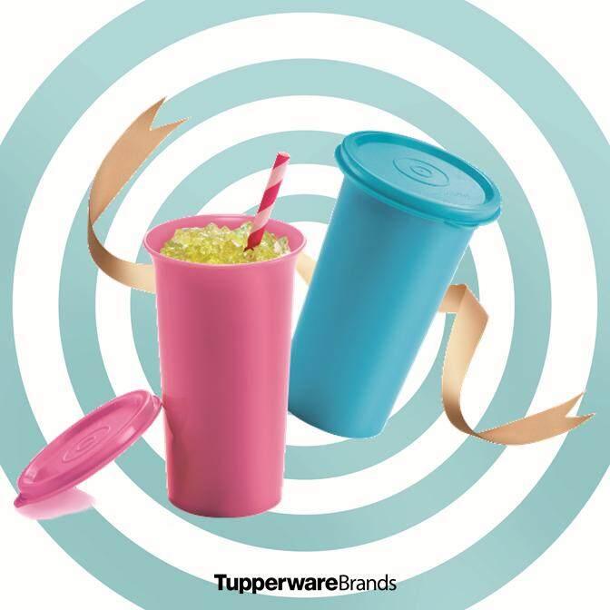 Tupperware Bell Tumbler (2) 310ml - Blue & Pink