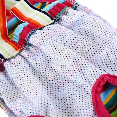 RAINBOW STRIP FEMALE PET PUPPY DOG CUTE COTTON PHYSIOLOGICAL PANT ELASTIC WAIST UNDERWEAR DIAPER (COLORMIX)