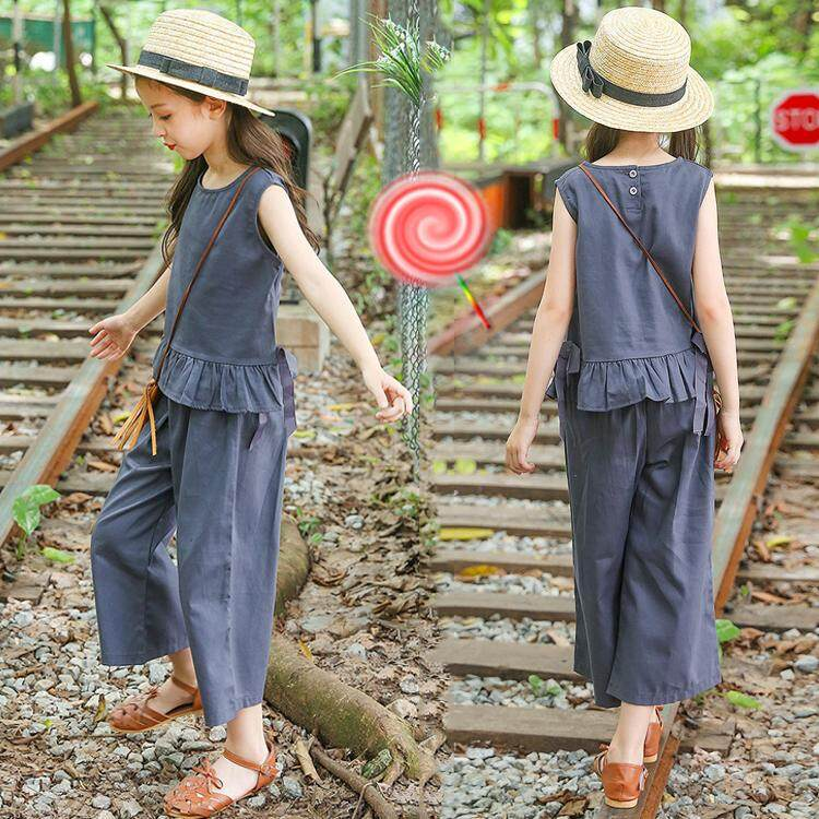Western style girls cotton Top pants
