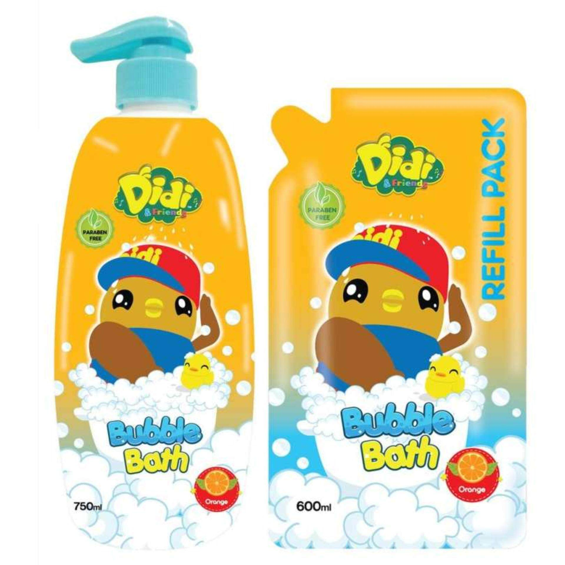Didi & Friends Head To Toe Wash 750ML With Refill Pack 600ML Set - Orange Flavour