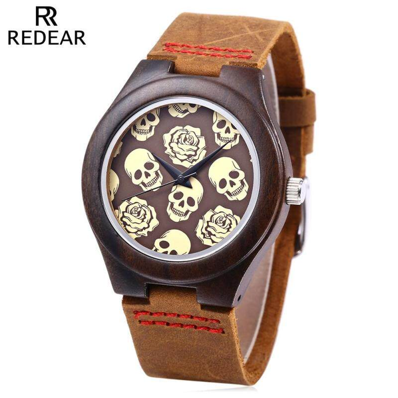REDEAR Female Quartz Watch Imported Movt Skull Pattern Wooden Case Wristwatch Malaysia