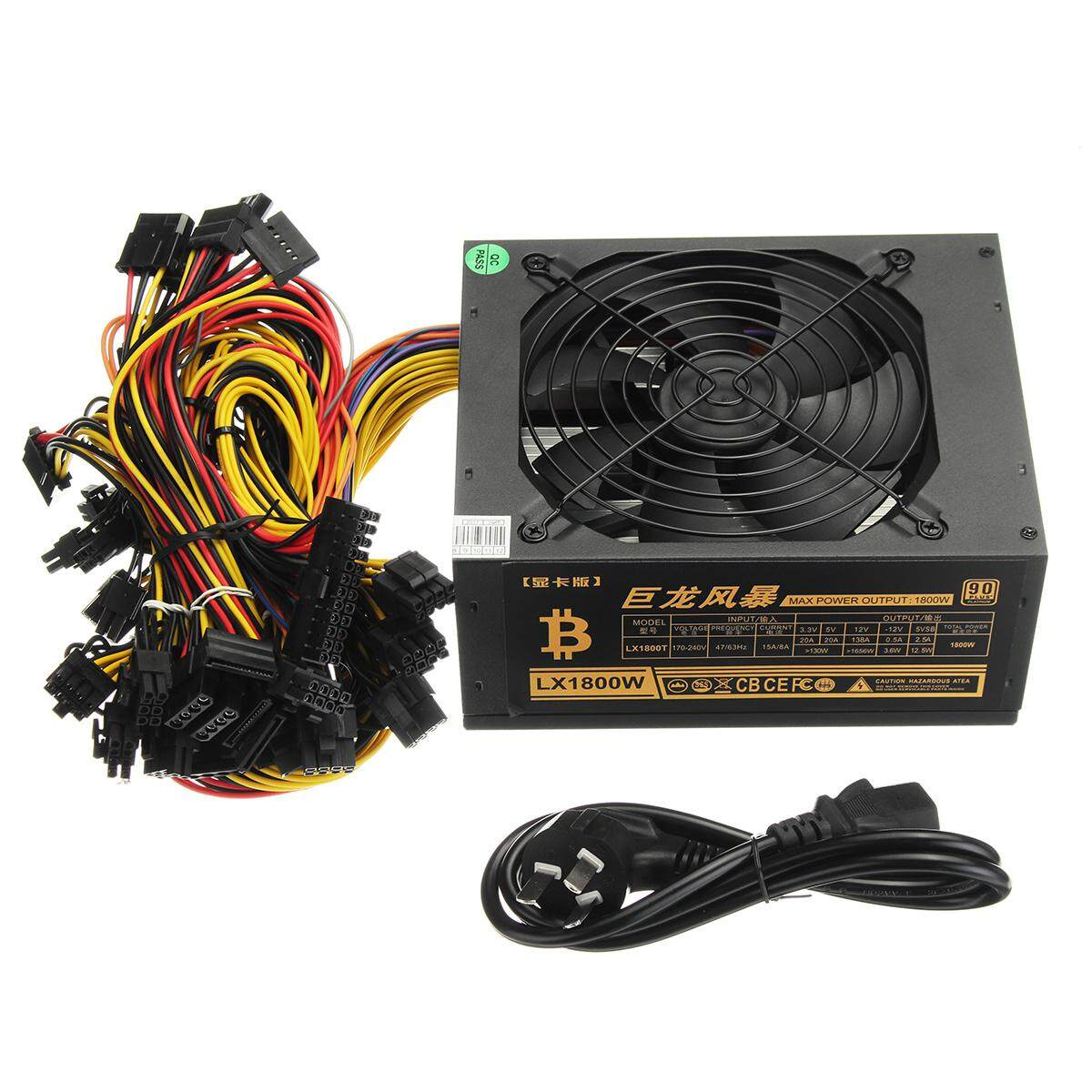 1800W 8PIN PC Power Supply For 12 GPU Eth Rig Ethereum Coin Mining Miner Machine
