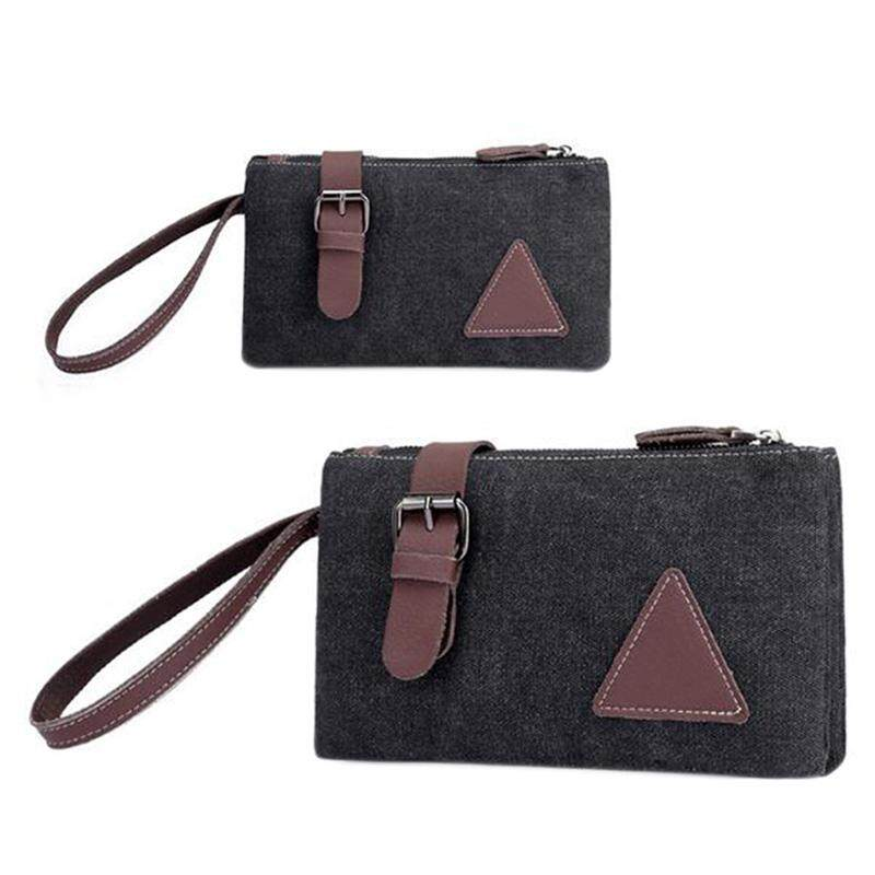 Zipper Canvas Clutch Bag with Retro Belt Decoration Wrist Handbags for Men - intl