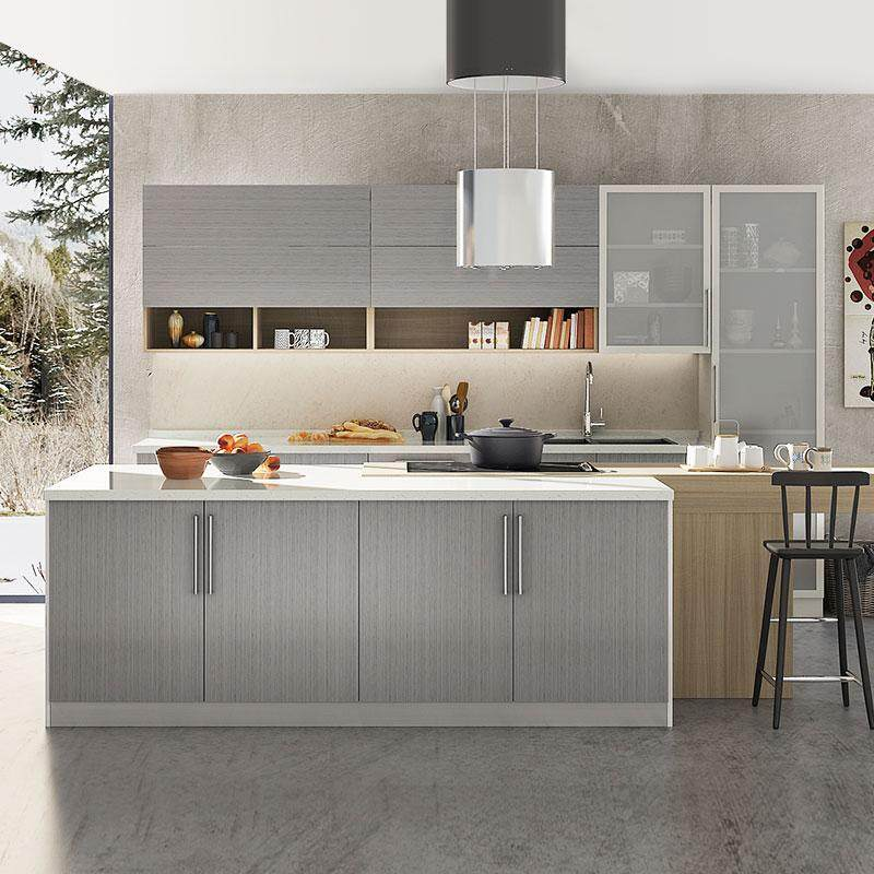 OPPEIN 360cm Width Standard Kitchen Cabinet with Gray Laminate Finish - intl