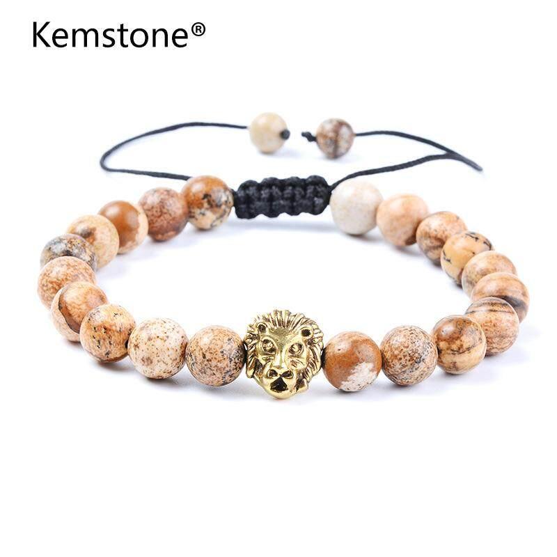 ... Kemstone Modis Alami Perhiasan Batu Singa Kepala Dapat Disesuaikan Gelang Manik manik