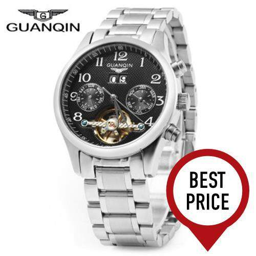 GUANQIN MALE LEATHER TOURBILLON AUTOMATIC MECHANICAL WATCH WITH CALENDAR DISPLAY 30M WATER RESISTANT TWO MOVING SUB-DIALS (SILVER BLACK)