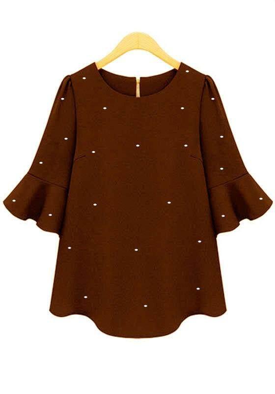 Modern peplum 3/4 blouse for women -  Hunza starletz