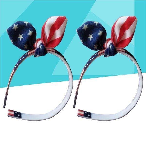 2Pcs America Flag Hair Band Kids Baby Girls Bowknot Hair Hoop Clasp for Independence Day 4th of July National Day (Blue)