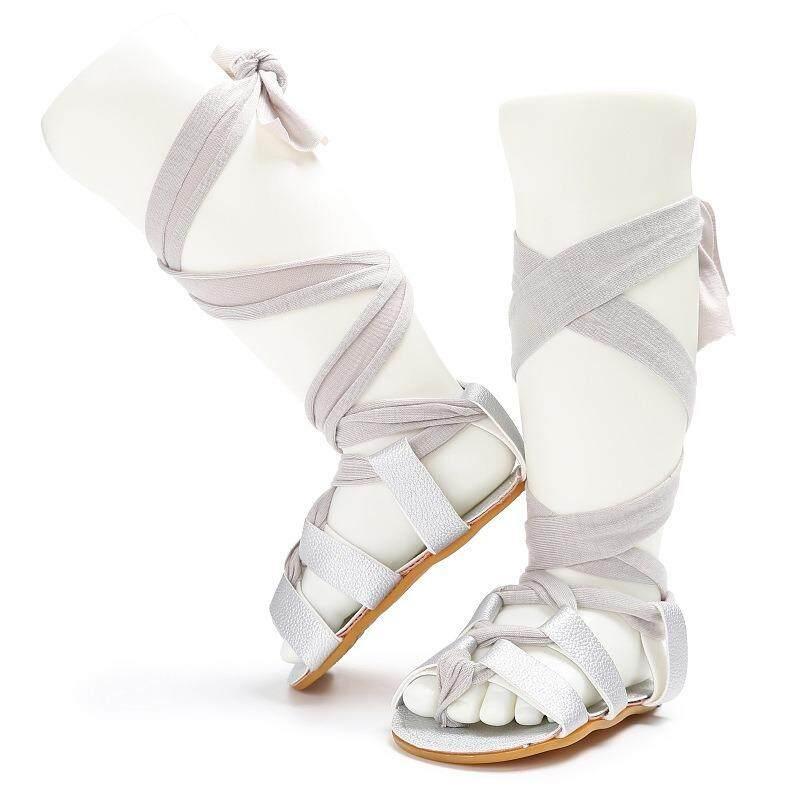YY Datar Wanita Tumit Renda Berongga Keluar Bot Sepatu Anak Romawi Sandal Bayi Tinggi Gladiator Bayi Musim Panas Sepatu lembut Crib Anak-anak PU Kulit Sol Karet Gladiator Sandal Sandal-Internasional