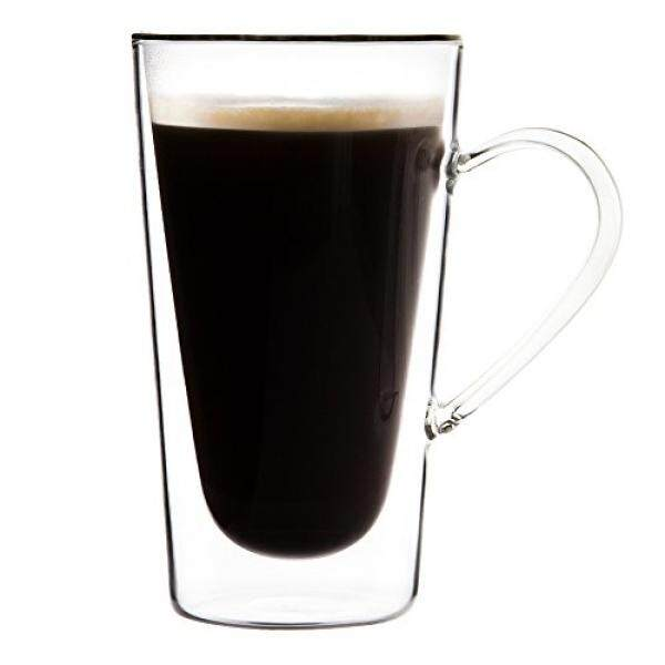 Triangle Large Double-wall Insulated Glass Coffee Mug with Handle, Set of 4, Borosilicate Glass, 10oz, Tall Glass Irish Coffee Mugs, Tea Cup, Beer, Cocktail, Juice, Espresso, Latte Glasses - intl