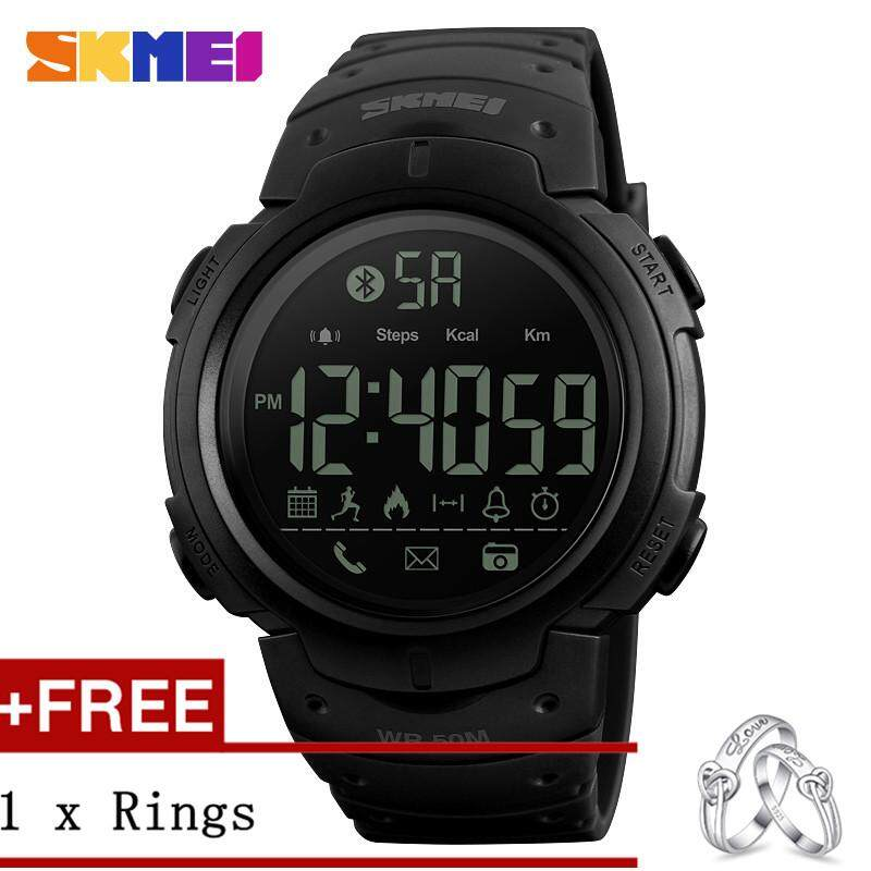 Amorfashion High Quality SKMEI 1301 Men Sport Calories Pedometer Digital Reminder Fitnes tooth Watch + Free a Couple Rings