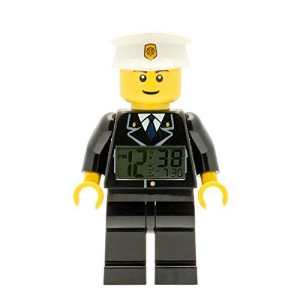LEGO City 9002274 Policeman Kids Minifigure Light Up Alarm Clock  black/white  plastic  9.5 inches tall  LCD display  boy girl  official