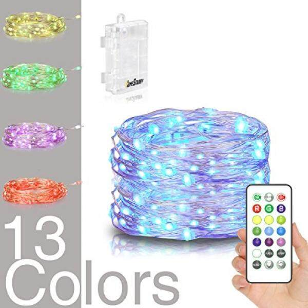 Homestarry LED String Lights, Powered Multi Color Changing String Lights With Remote,50leds Indoor Decorative Silver Wire Lights for Bedroom ,Patio,Outdoor Garden,Stroller,Christmas Tree.(16ft)