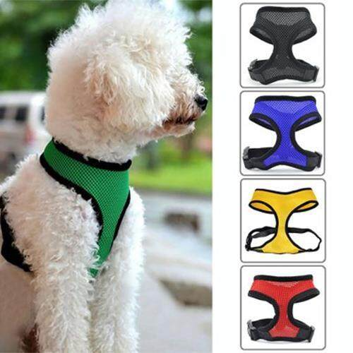 PETS WAISTCOAT DOG COLLAR LEADS CHEST STRAP HARNESS PUPPY CAT MESH VEST CLOTHES (BLACK)