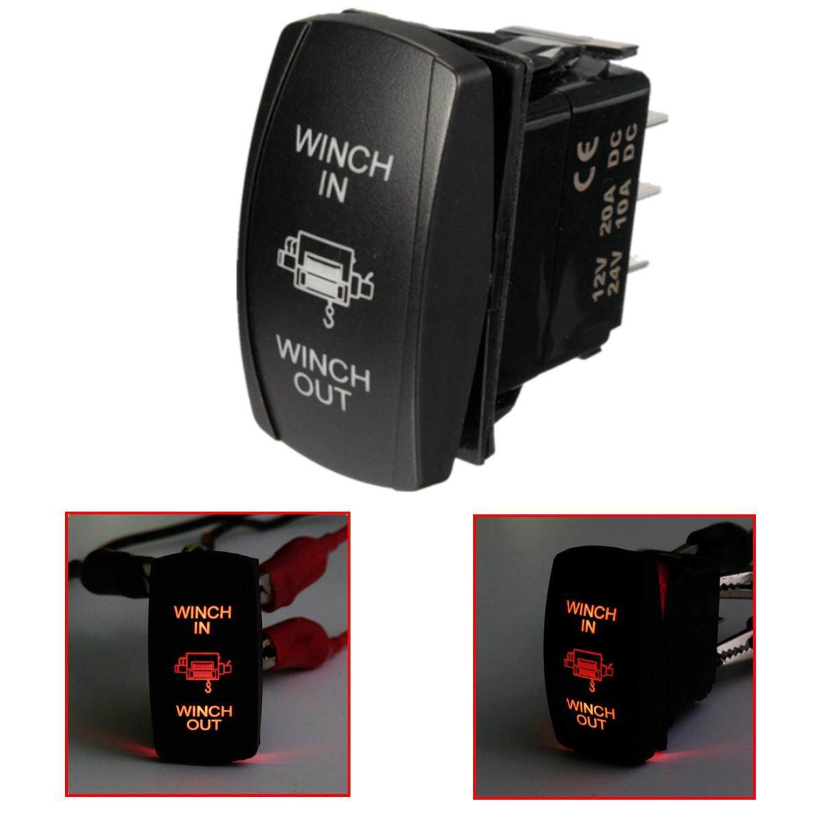 12V 20A Boat UTV Dual Led Light Winch In Out ON-OFF-ON Laser Rocker Switch 7 Pin Yellow - intl