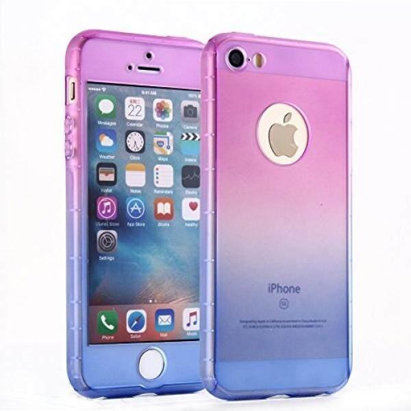 Iphone Se Case, Iphone 5 Case, ilapland Ultra Tipis Seluruh Badan Cakupan Perlindungan Rambut Palsu Gradien Colorful Keras Slim Case dengan Kaca Antigores Pelindung Layar untuk Apple iPhone 5/5 S/ se (Pink untuk Ungu) -Intl