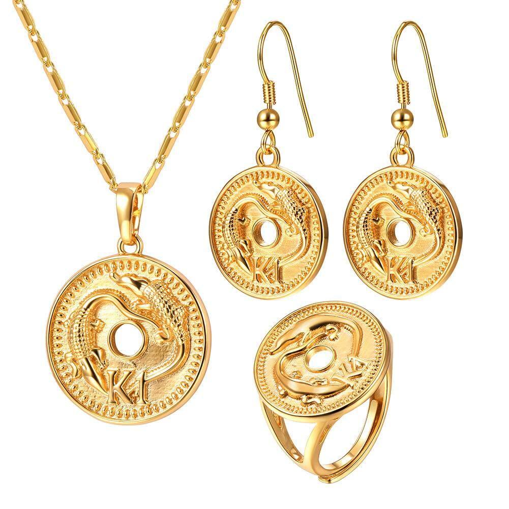 U7 K1 Lizard Kalung Earring Lingkaran Set Gold Disepuh Australia/India/Papua Nugini Hewan Perhiasan Set Aksesoris (Gold)