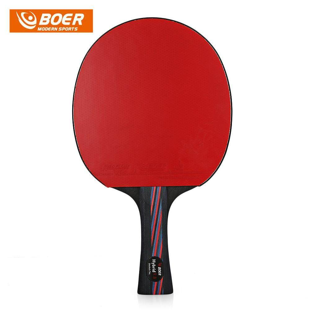 BOER Lightweight Table Tennis Ping Pong Racket Paddle (Size:SHAKE-HAND GRIP Color:BLACK AND RED)