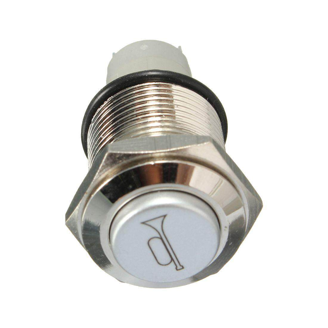 Features 12v Dc Led Light Illuminated Green Round Momentary Push Rocker Switch Spst X2 With Red Indicator Lamps 16mm Car Horn Button Metal