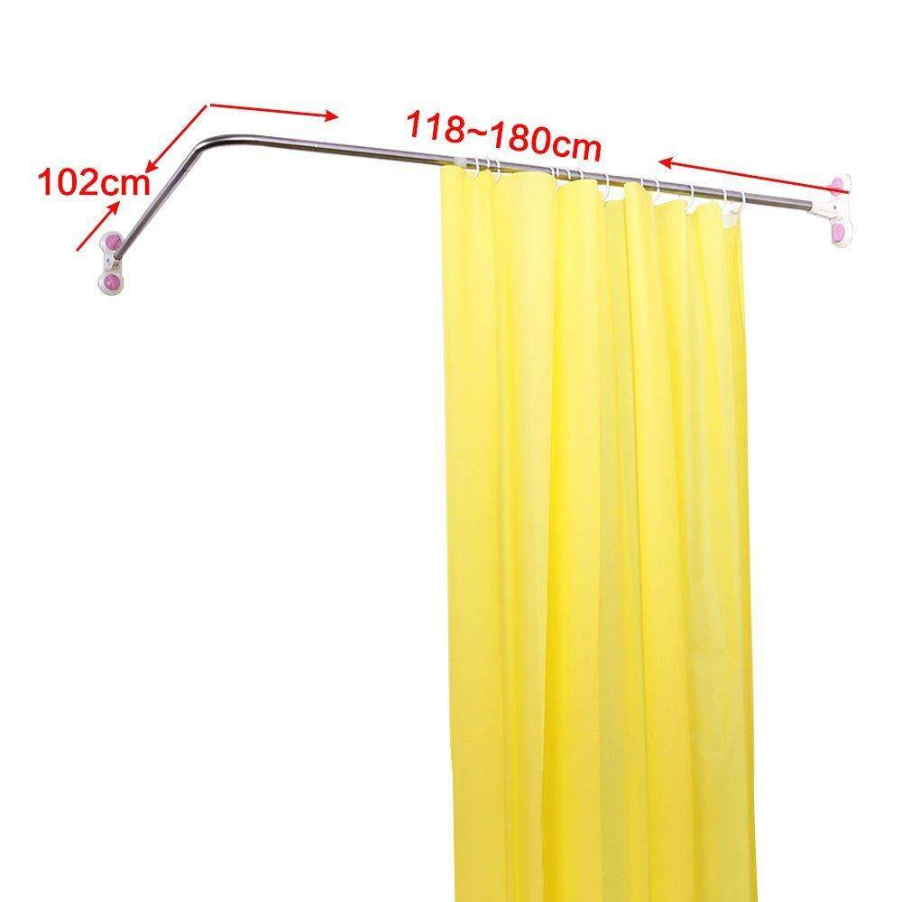 Features Baoyouni Curved Shower Curtain Rod Suction Cups L Shaped