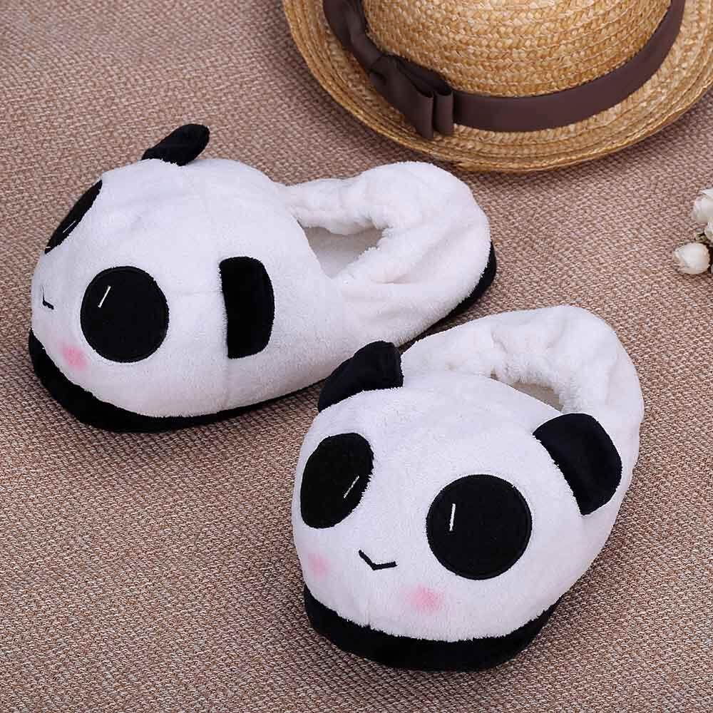 Anself Indoor Novelty Slipper for Lovers Winter Warm Slippers Lovely Cartoon Panda Face Soft Plush Household Thermal Shoes 26cm / 10.24in - intl