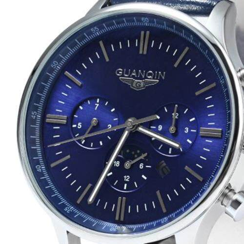 GUANQIN MALE LEATHER CALENDAR LUMINOUS ANALOG QUARTZ WATCH WITH MOVING SUB-DIALS (BLUE SILVER BLUE)