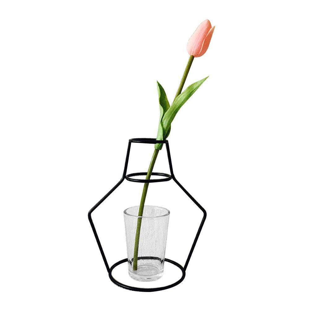 yiokmty Micro-landscape Decoration Potted Wrought Iron Balcony Flower Frame Gardening Pots Racks Color:L, Black - intl