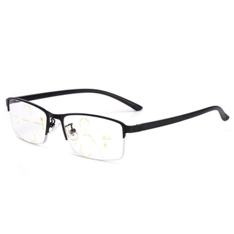 Kcasa Progresif Multi Fokus Kacamata Baca Multifokal Logam Kaca 9609 + 150-Internasional