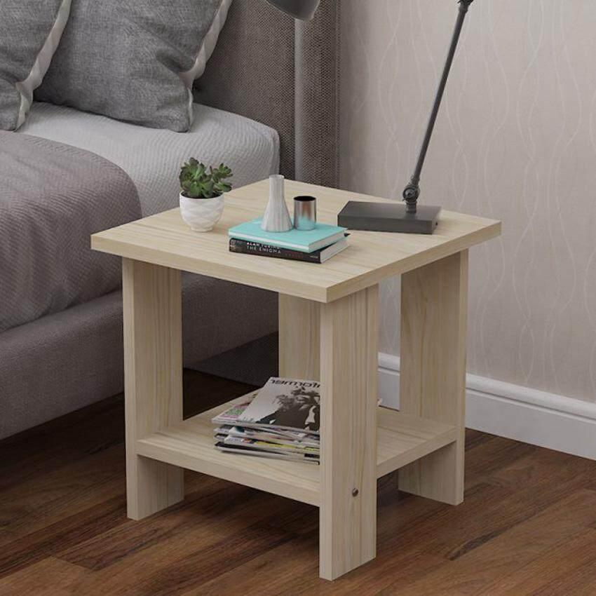 RuYiYu - 50X50X52 cm, 2 Layer Square Wood Coffee Table, Multi-color Optional, Wood Frame - intl