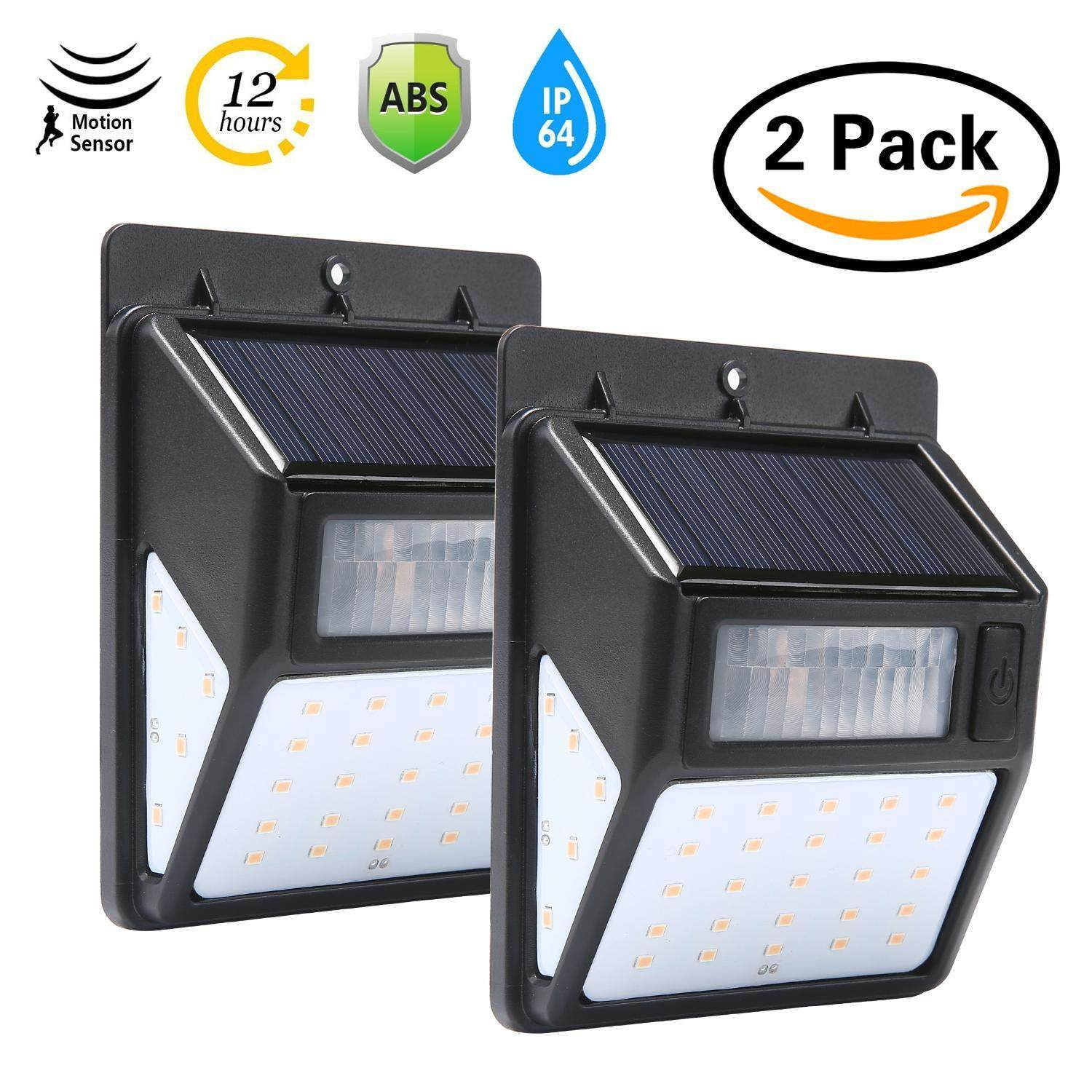 Teepao 2 Pack Outdoor Waterproof 35 Led Solar Motion Light Wall Light For Yard, Front Door, Patio, Pathway, Driveway, Emergency Use (Warm White)