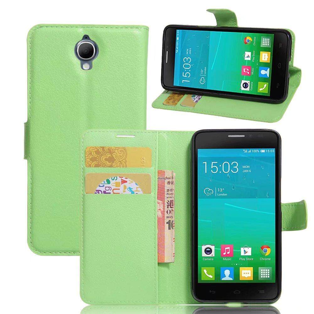 Leather Flip Cover Wallet Card Holder Case For Alcatel idol X Plus / OT6043D - intl