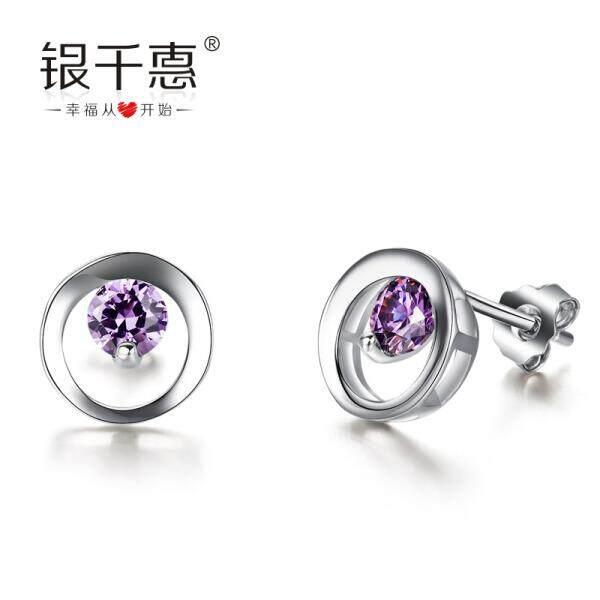 Perak Ribuan Hui 925 Jamur Kuku Wanita Jepang dan Korea Selatan Versi Anting-Anting Anting-Anting Perak Perhiasan Romantis Ungu (Romantis ungu) -Internasional