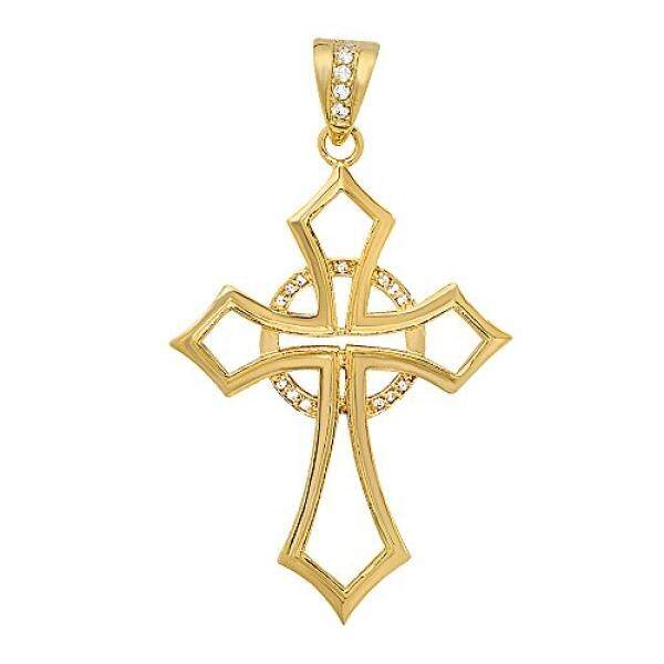 Large Open 36mm x 49mm 14k Gold Plated CZ Celtic Passion Cross Pendant, + Microfiber Jewelry Polishing Cloth - intl