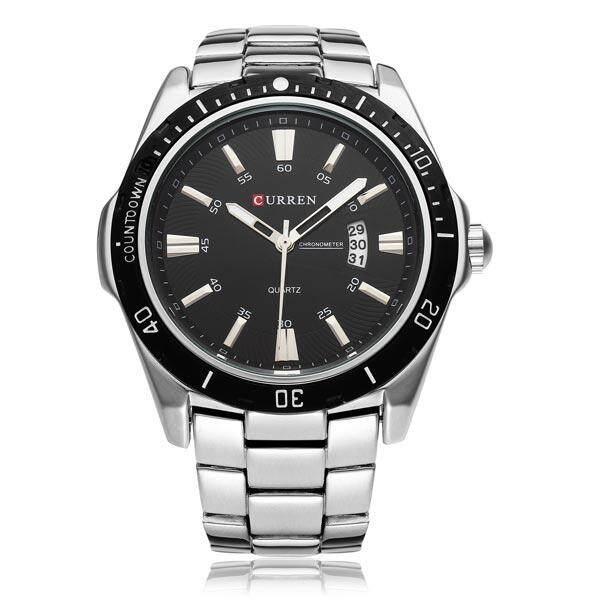 CURREN 8110 Silver Black Date Sport Stainless Steel Men Wrist Watch Silver