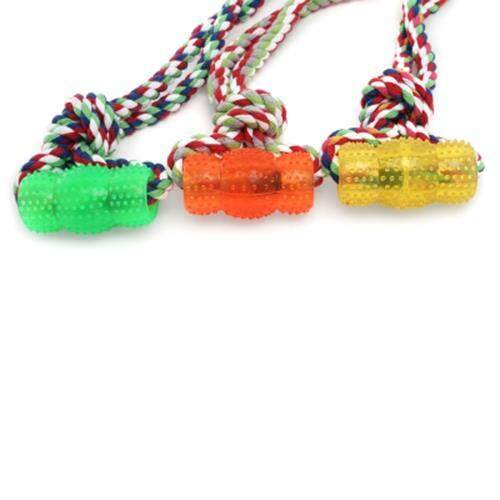 RUBBER PET DOG TOY WITH ROPE HANDLE CHEW TRAINING PLAY TOOL TEETH CLEANING (ORANGE)