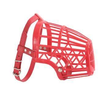 Harga preferensial BolehDeals Dapat Disesuaikan Keranjang Mulut Moncong Sarung untuk Anjing Pelatihan Kulit Gigitan Merah #
