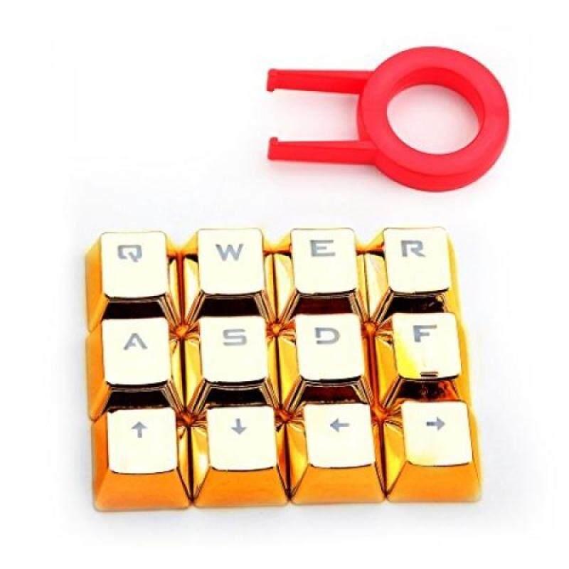Redragon A103G Mechanical Keyboard Caps 12 Chrome keycaps QWER, ASDF, WASD, ARROW Keys MX Style with Key puller - Gold Brand: Redragon - intl Singapore