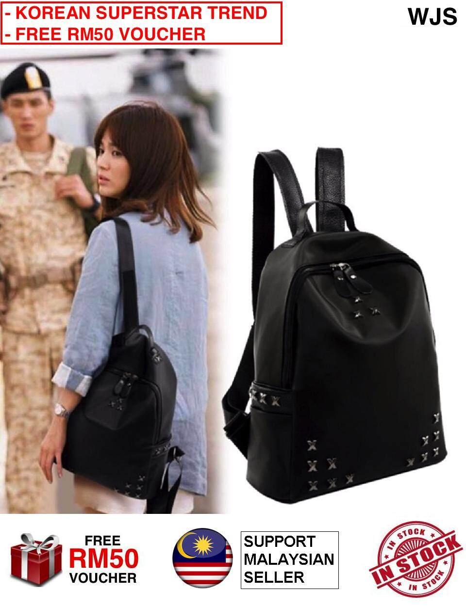 (KOREAN SUPERSTAR TREND) WJS Premium Quality Korean Fashion DESCENDANTS OF THE SUN Women Backpack Fashion Rivets Shoulder Bag Bag Pack Korea Fashion Kstyle Kpop Kdrama BLACK (FREE RM50 VOUCHER)