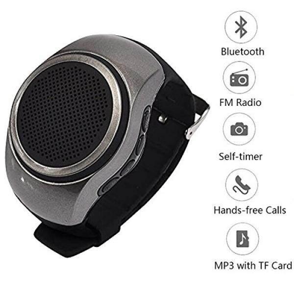 Portable Speaker Watch Sport Jam Tangan Musik Bluetooth Mini Speaker dengan FM Radio Selfie Mp3 Music Player Speaker Yang Mudah Dipakai untuk Ponsel Android Samsung Galaxy S8 S7 s6 S5 Huawei Nexus HTC Pria Wanita Anak-Internasional
