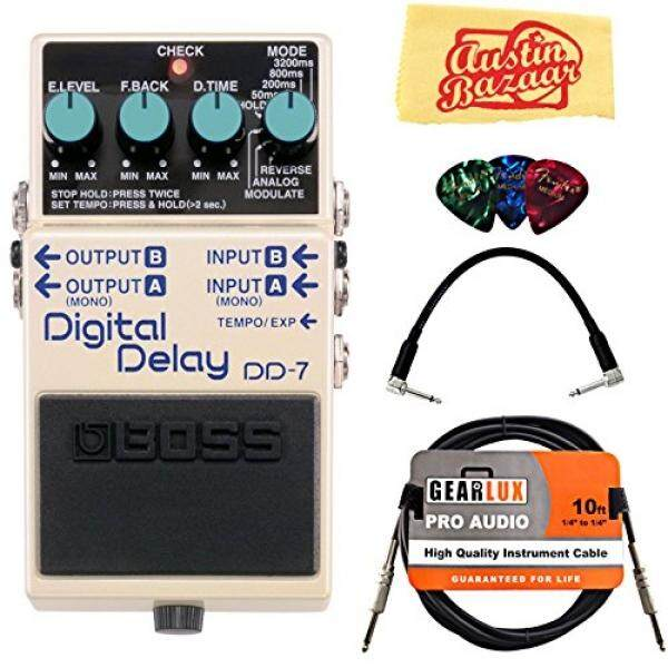 Boss DD-7 Digital Delay Bundle with Instrument Cable, Patch Cable, Picks, and Austin Bazaar Polishing Cloth - intl