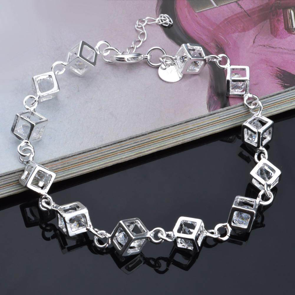 Women's Fashion Delicate Silver Plated Crystal Zircon Stone Bracelet Chain Jewelry Gift -