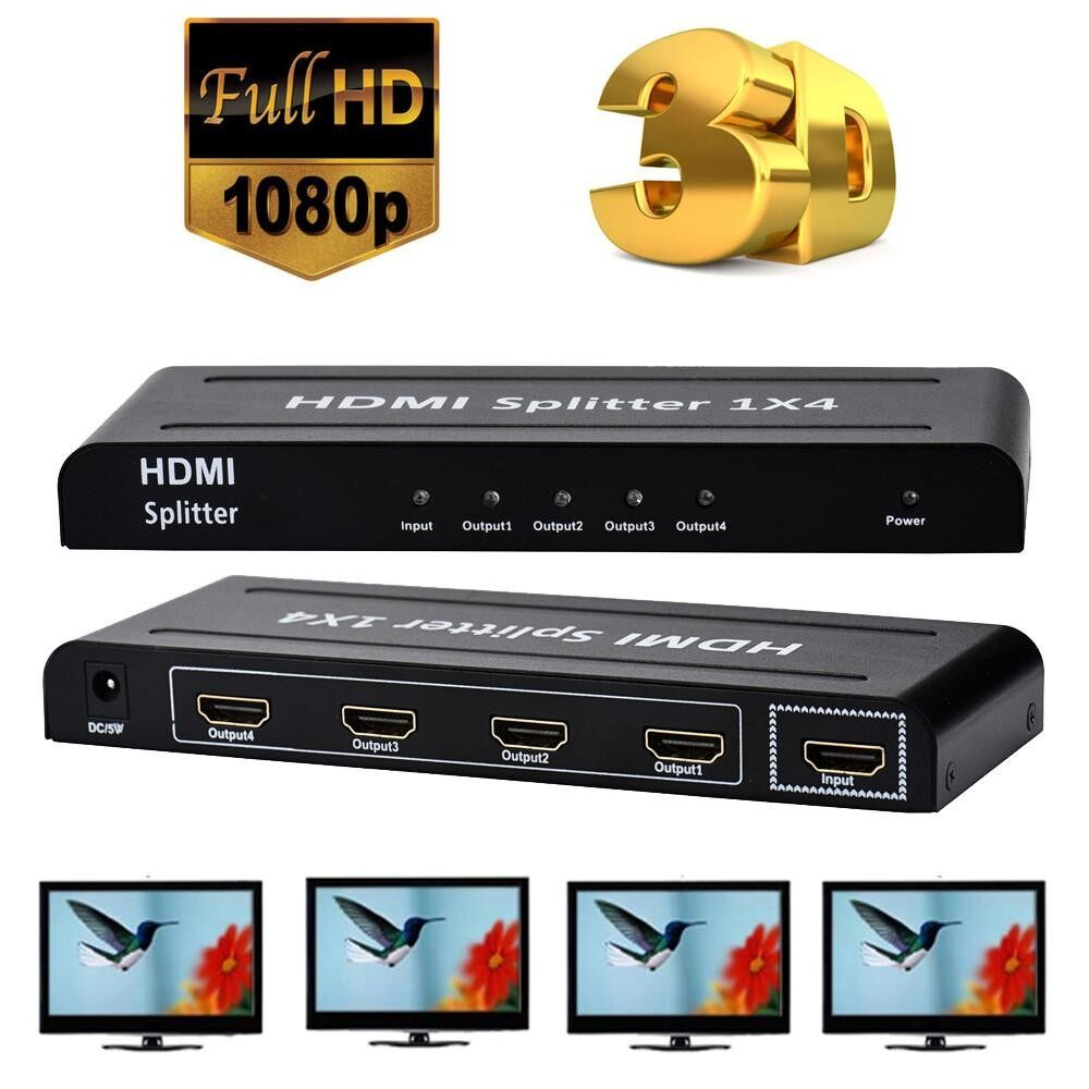 1080 P 4 Cara HD Hub 1X4 HDMI 3D Splitter Amplifier Switcher Sumber Daya Listrik untuk Hdt Erpstore- internasional