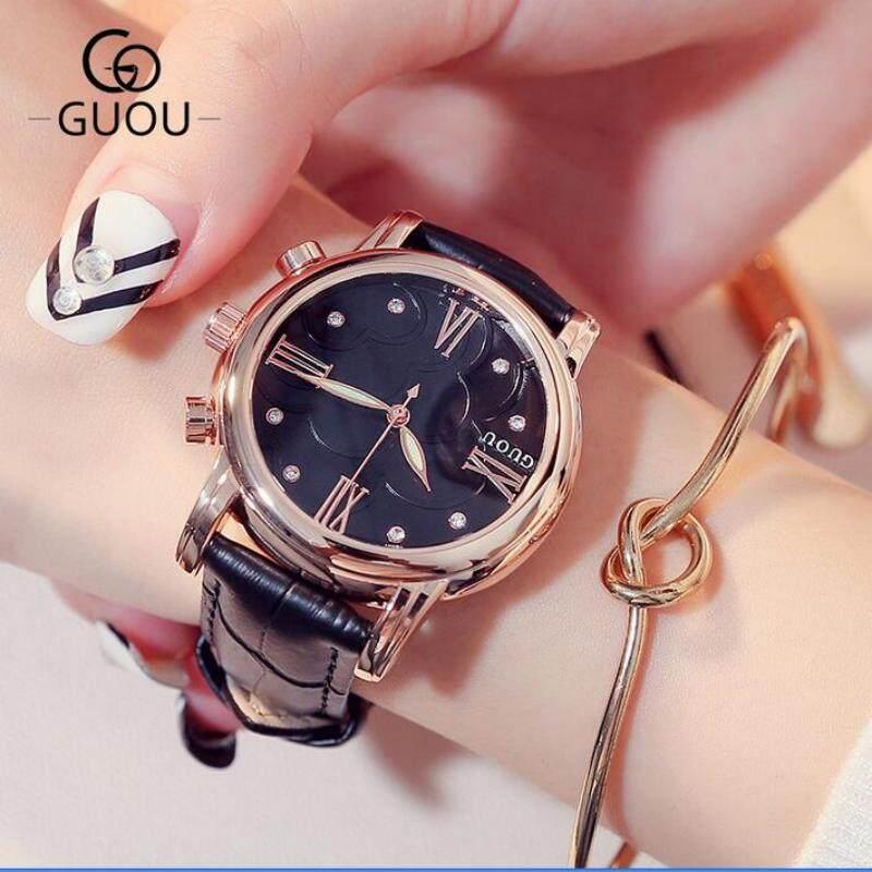 GUOU Clock Luxury Crystal Women Watches Roman Numerals Womens Watches Fashion Leather Female Watch Clock bayan zegarek damski - intl