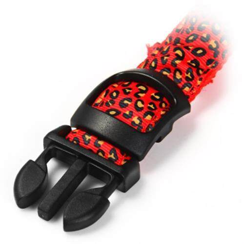 LEOPARD PRINT LED COLLAR LUMINOUS PUPPY NECKLACE PET DECORATIVE PROPS (RED)