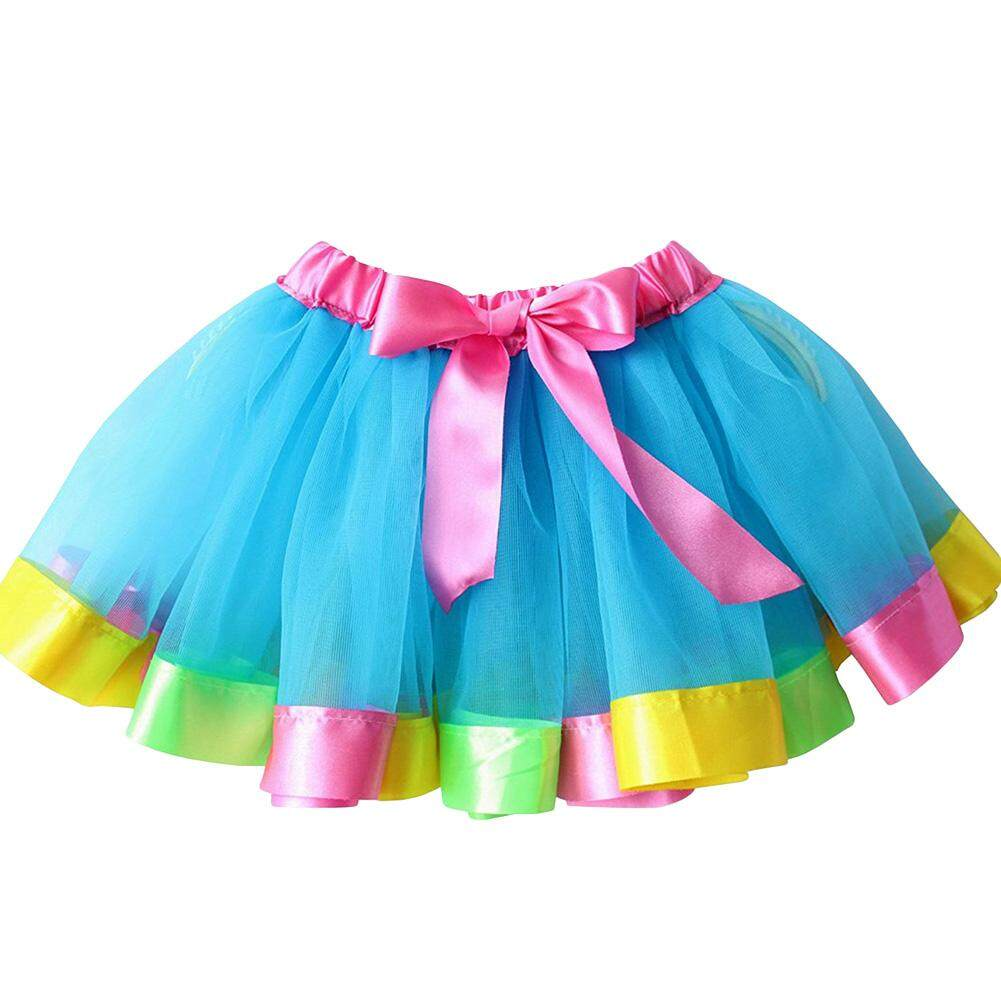 320d9ec67d Girls Layered Rainbow Tutu Skirt Bow Dance Tulle Dress Ruffle - intl