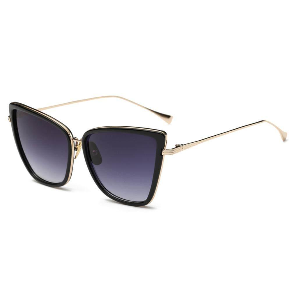 USTORE Baru Wanita Bergaya Retro Vintage Kucing-mata Cermin Kacamata  Plastik Hitam + Abu- 48ad01edc3