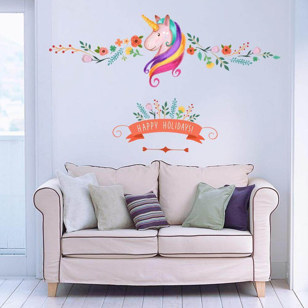 Coupon Nordic Style Unicorn Living Room Non Toxic Removable Decor Sticker Bedroom Background Decorative Wall Stickers Decorating Office Decals Sticker